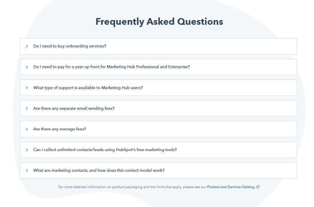 Hubspot FAQ section