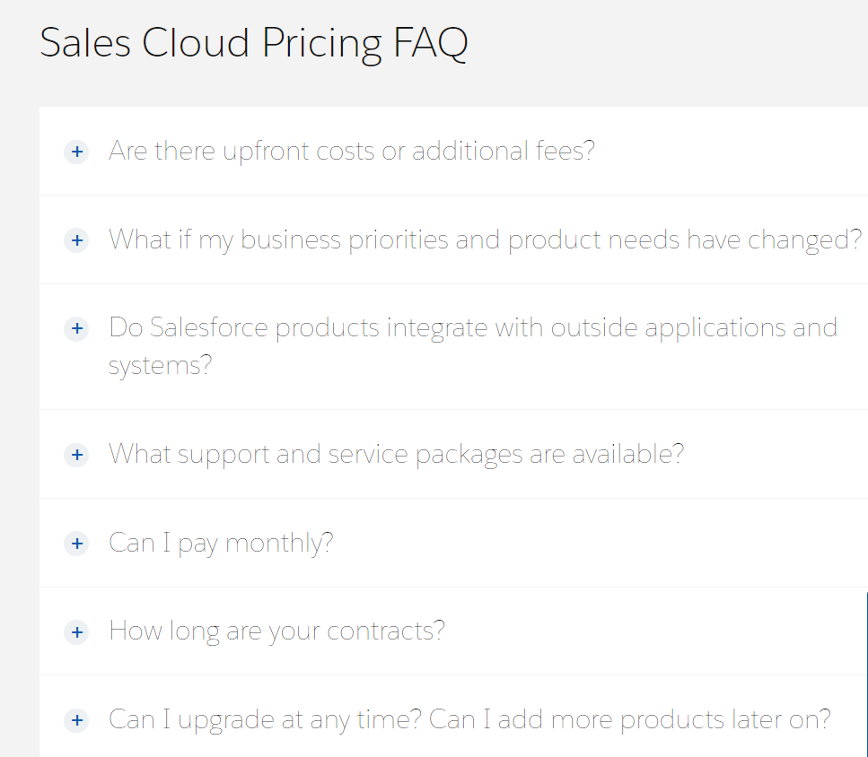 Sales cloud FAQ section