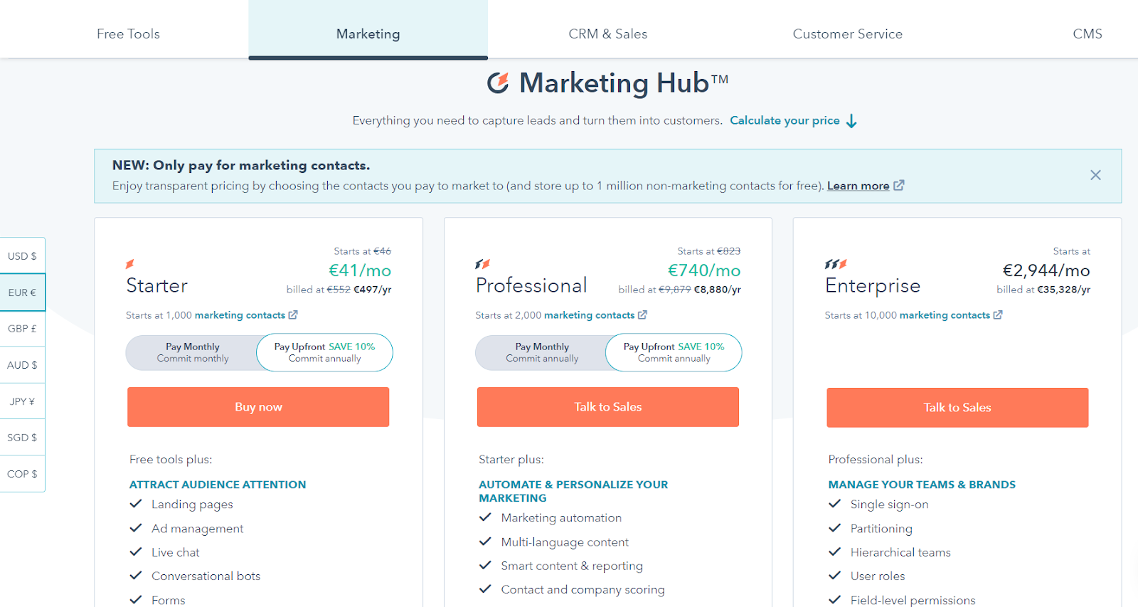 an image explaining the structure of Hubspot pricing