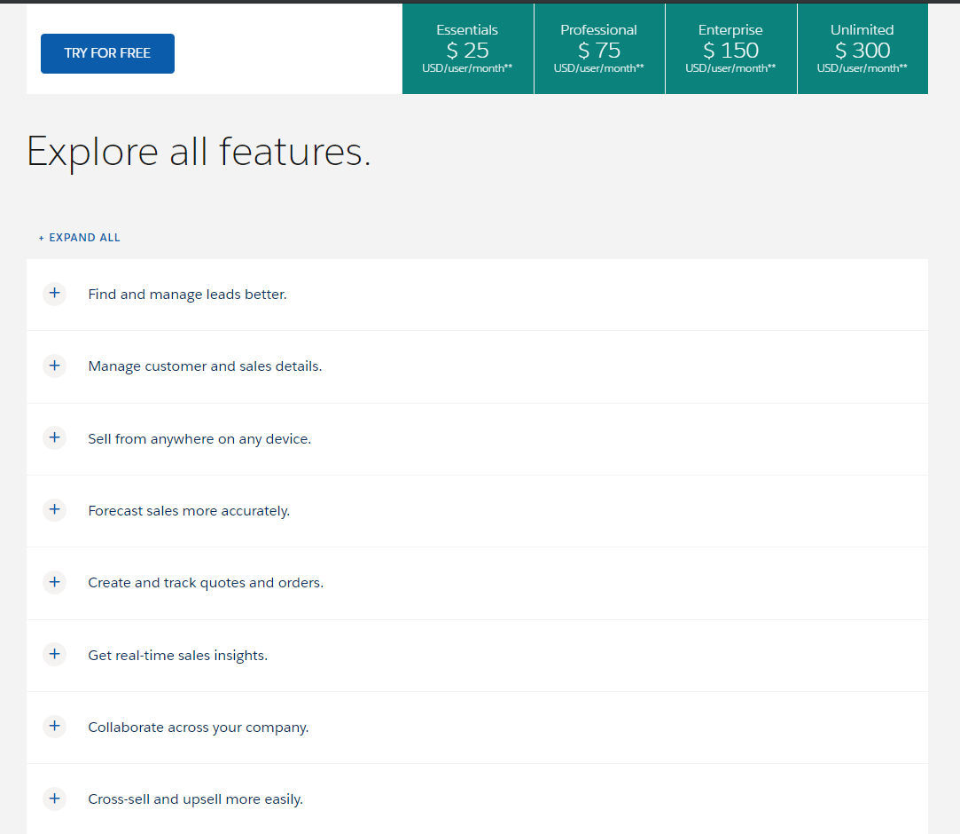 "you can check all Sales cloud features by clicking ""explore all fearures"" on their pricing page"