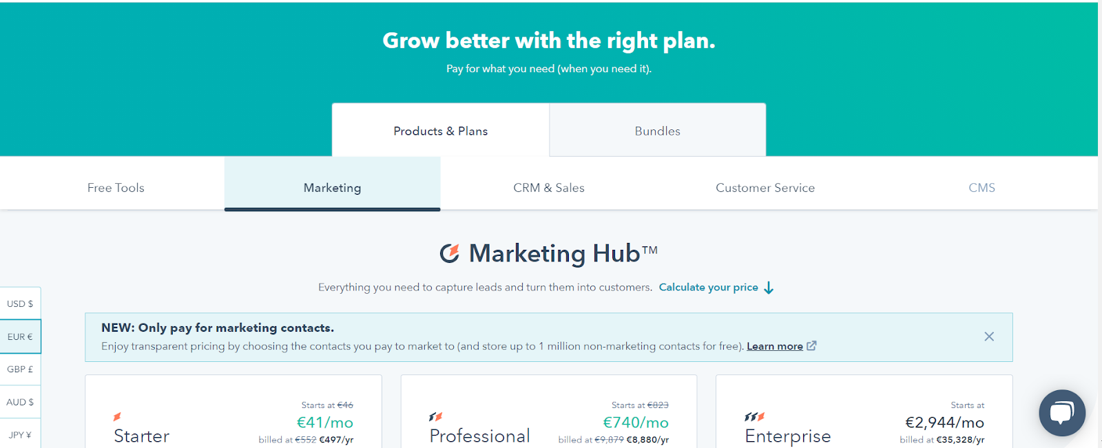 Hubspot pricing plans example