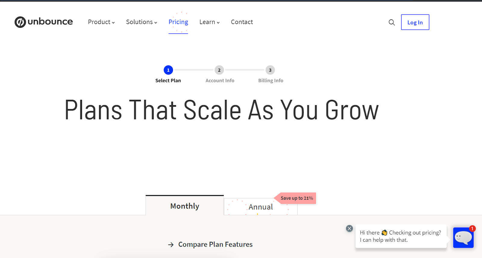 Unbounce pricing page is built using jobs-to-be-done approach