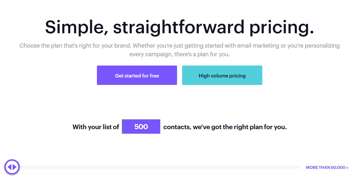 Campaign monitor pricing page