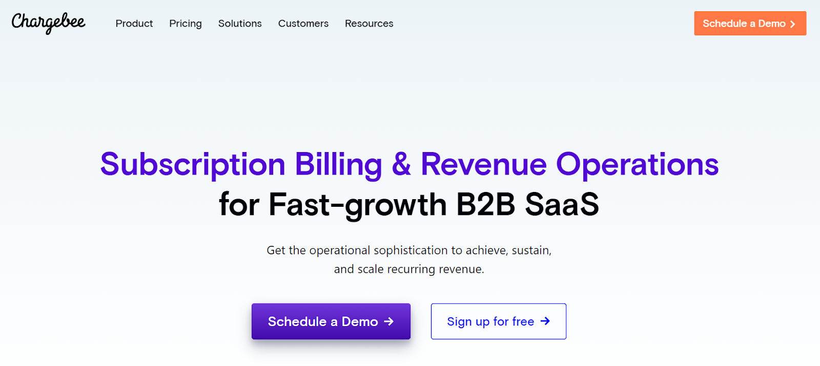 Chargebee subscription management for B2B SaaS