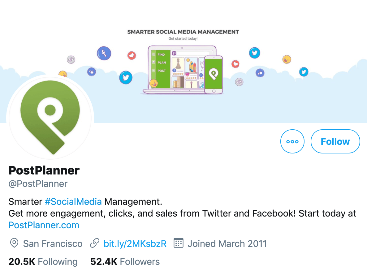 example of SaaS account on Twitter