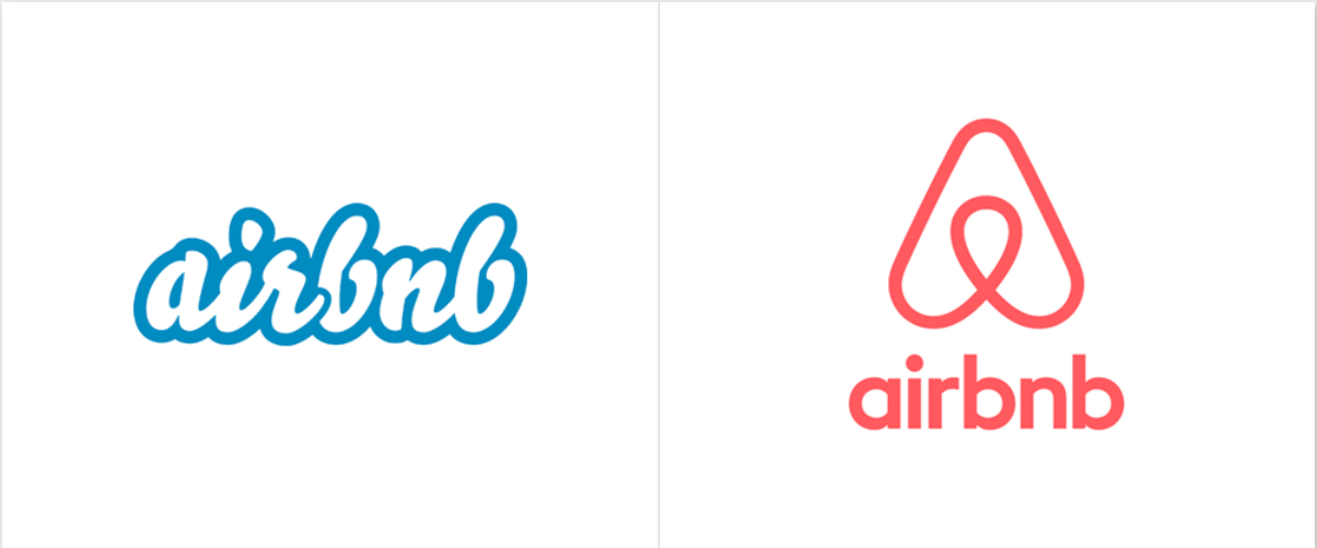 Airbnb rebranding logo: before and after