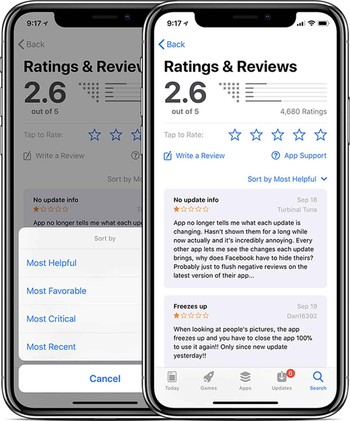 reasons for app redesign: negative customer reviews