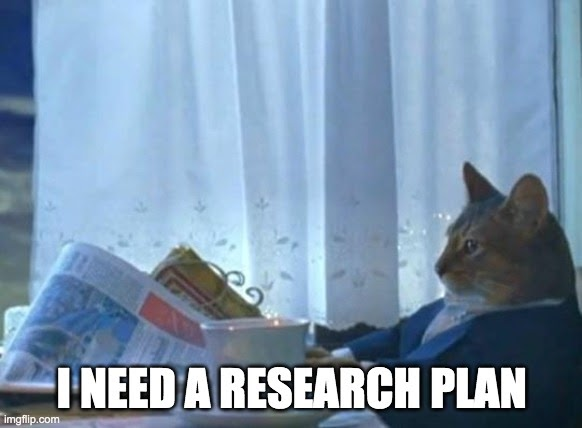 Cat reading newspaper: I need a research plan