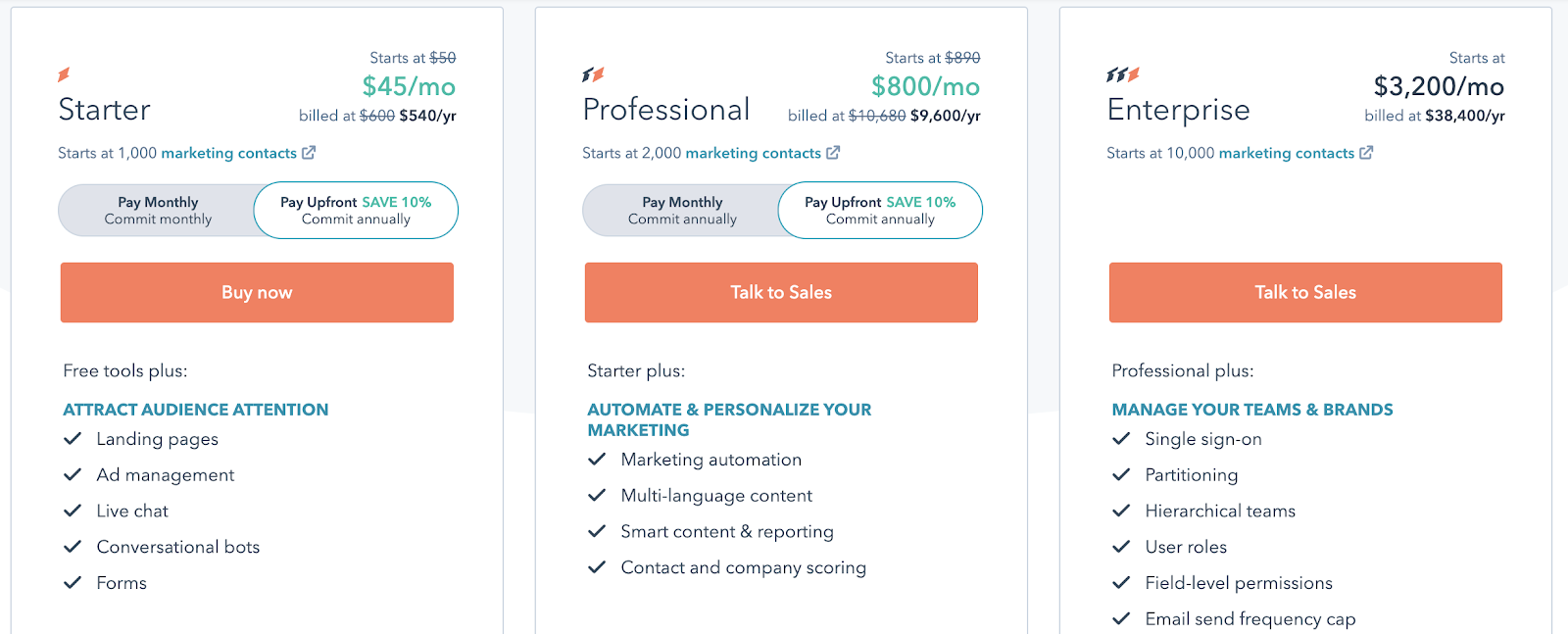 Hubspot pricing plans - Starter, Professional, Enterprise