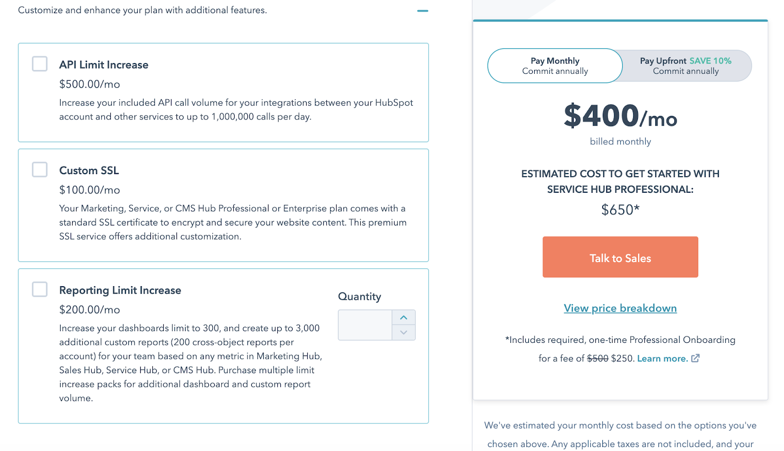 Hubspot add-on offering custom report for extra $400/month