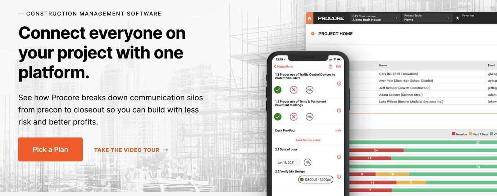 image showing Procore, a construction management software landing page