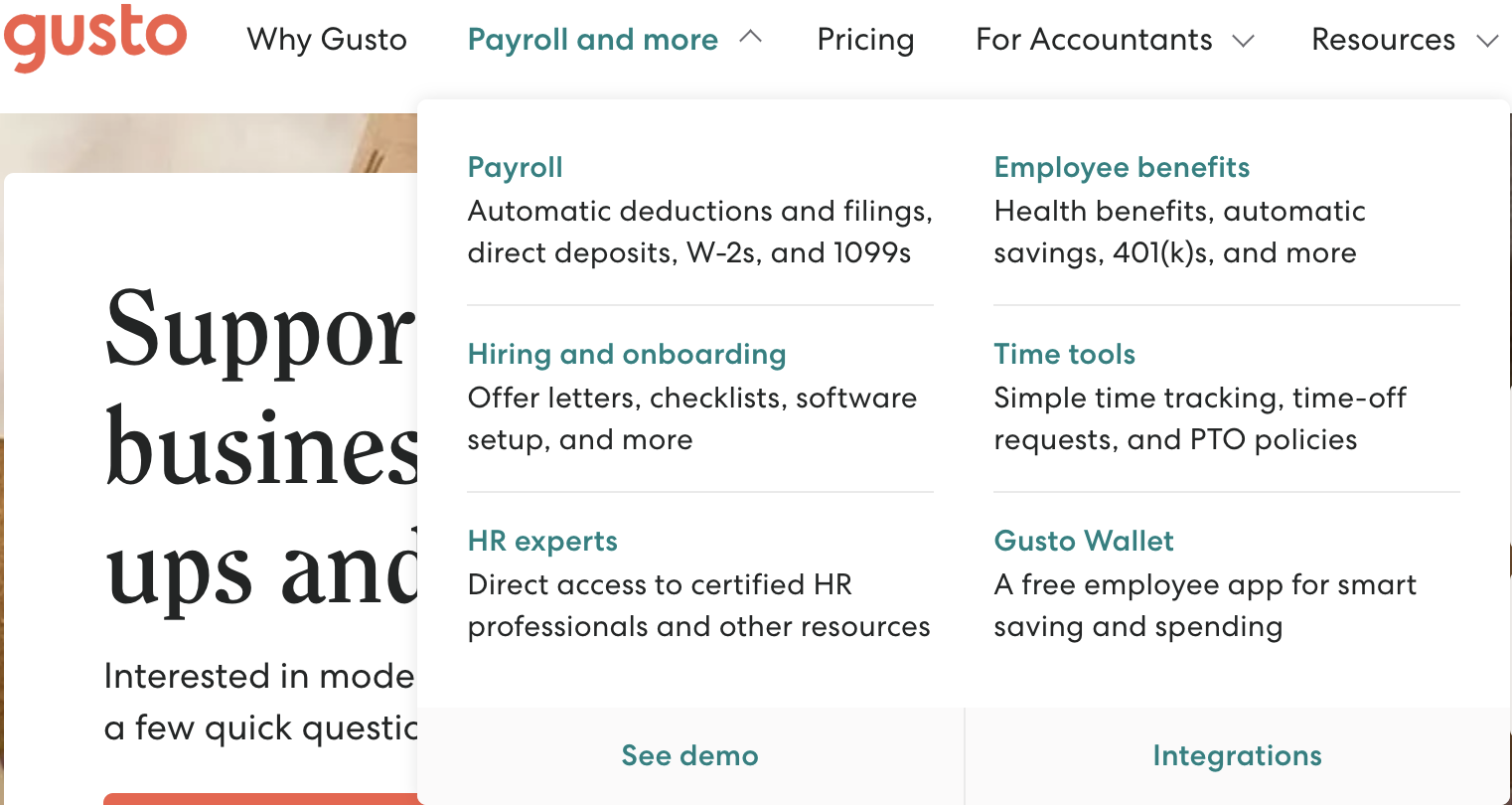 an image of Gusto, an HR management software, landing page