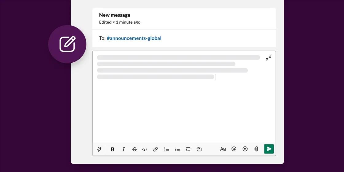Compose new letter in Slack