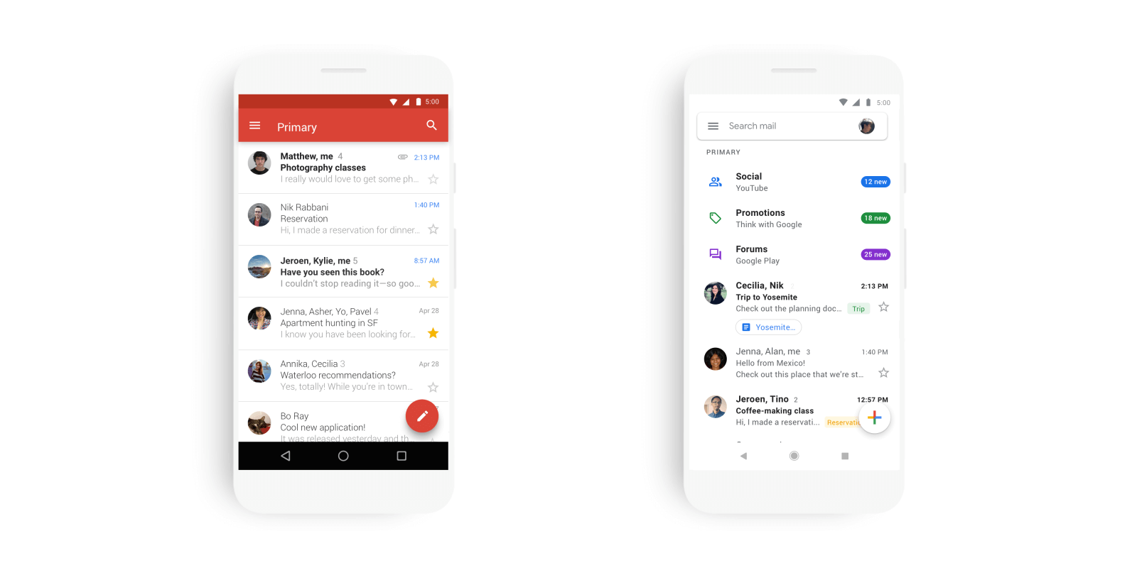 Gmail before and after the redesign 2015