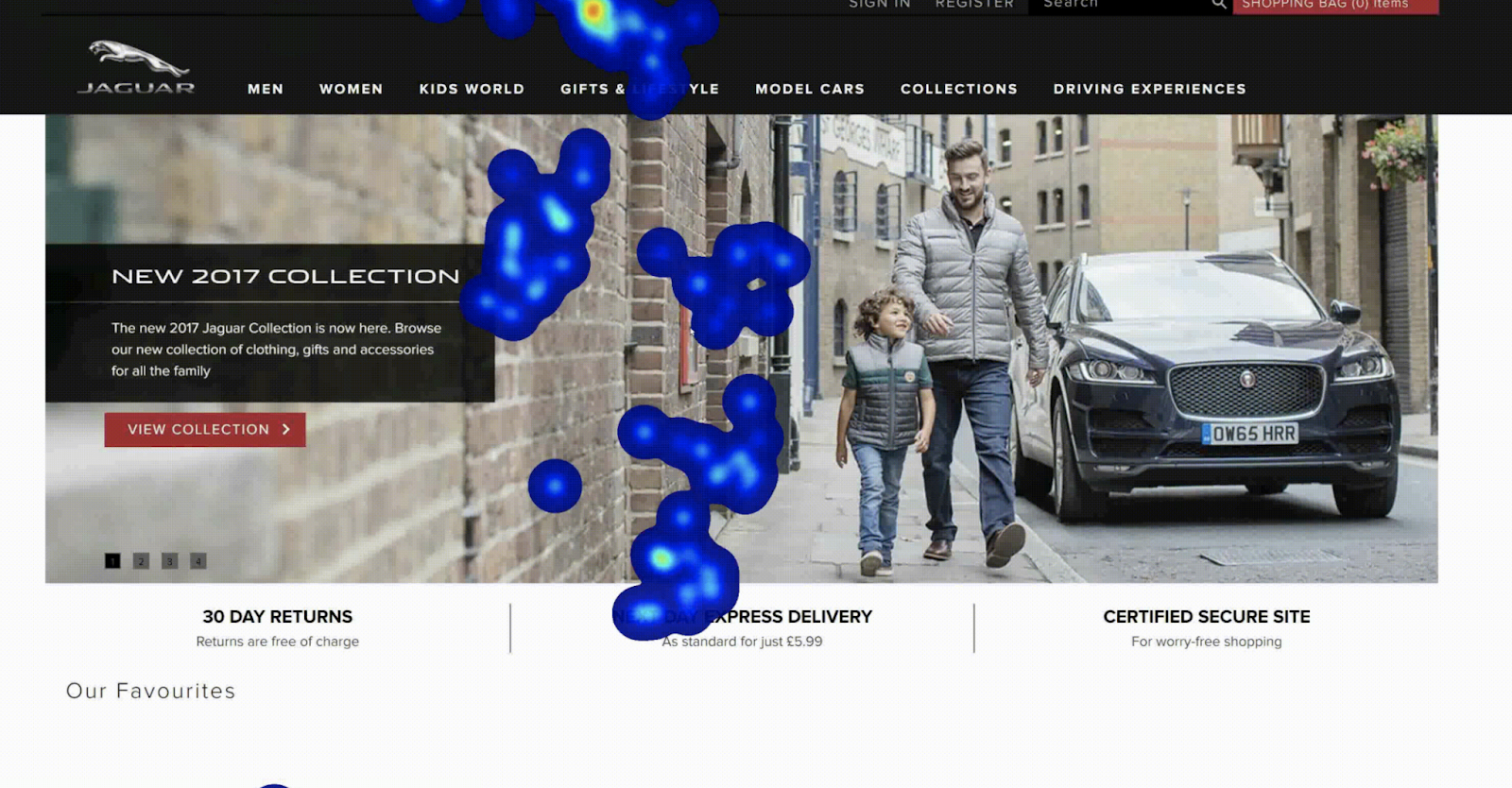 eye-tracking heatmap on Jaguar online store website shows that people mostly watch at the conter of the page whereas a promotional banner is placed on the lefthand side whichcan influence promotion effectiveness