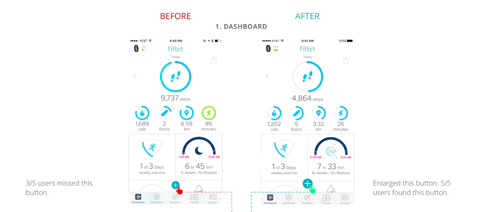 A sketch of Fitbit app's enhanced user interface the UX designer created