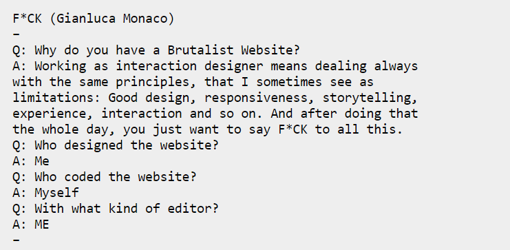 Typical interview of an early brutalist website owner