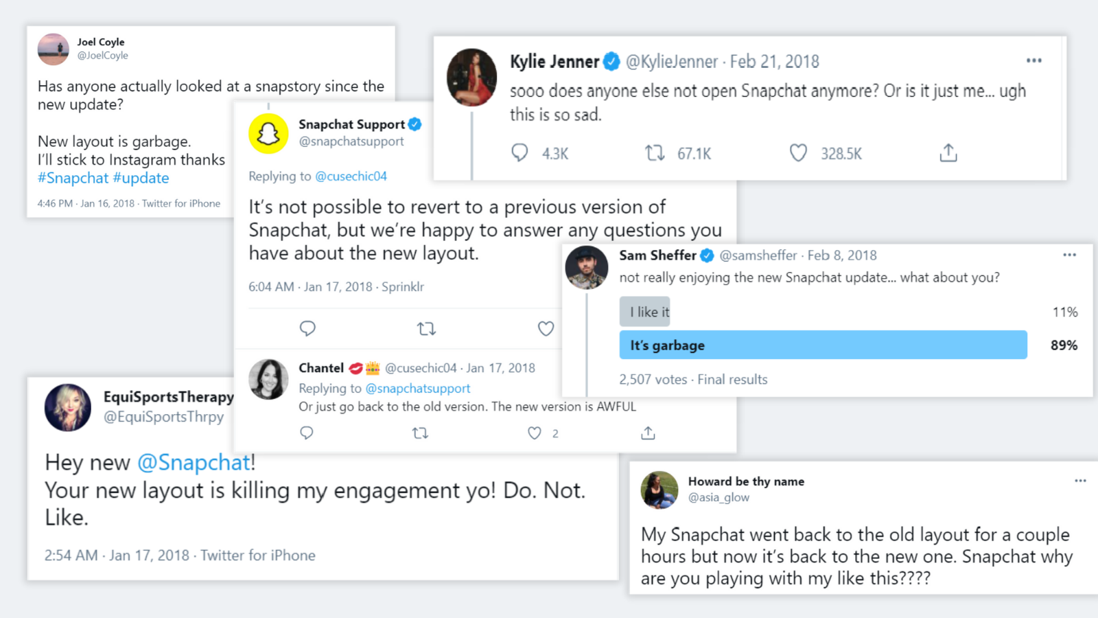 snapchat redesign twitter reactions