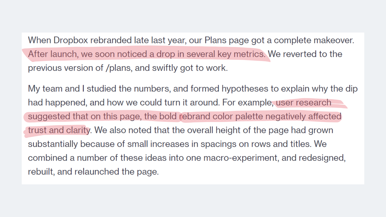 how the users behave in Dropbox redesigned pages