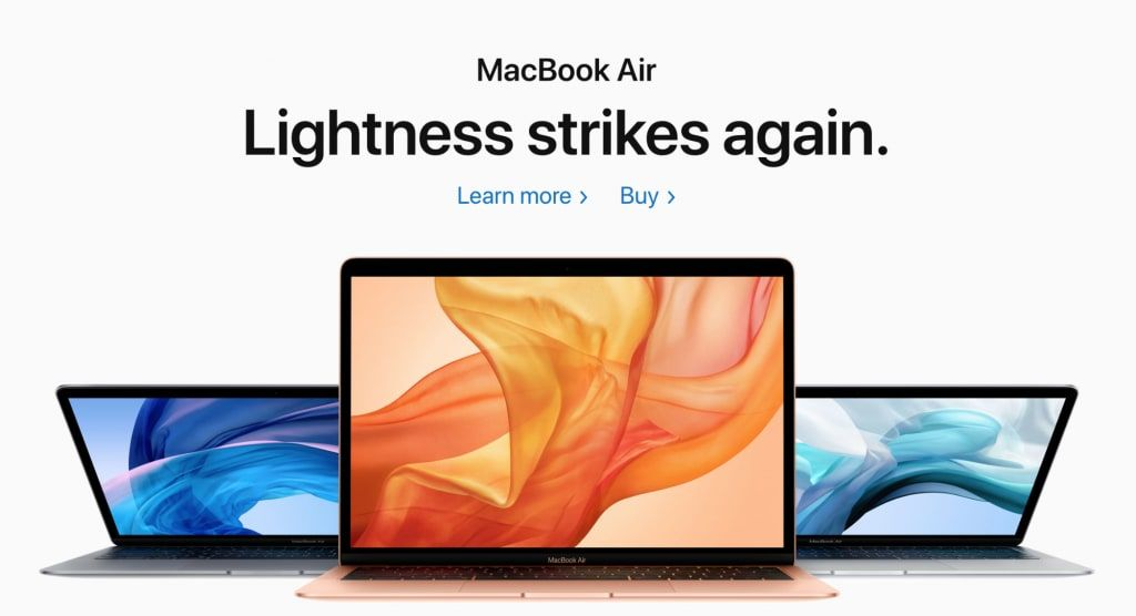 MacBook Air landing page on Apple website