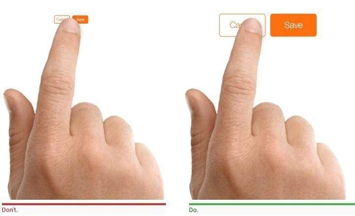 The image showing different size buttons and a finger trying to press smaller and bigger button