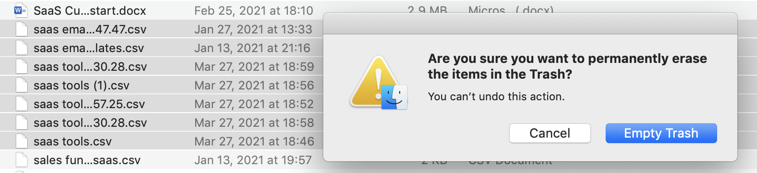 Apple's MacOS notification asking if you want to permanently erase the items in the Trashs