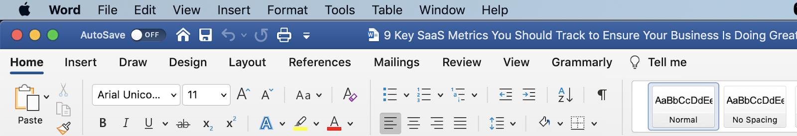 The Microsoft Word navigation panel