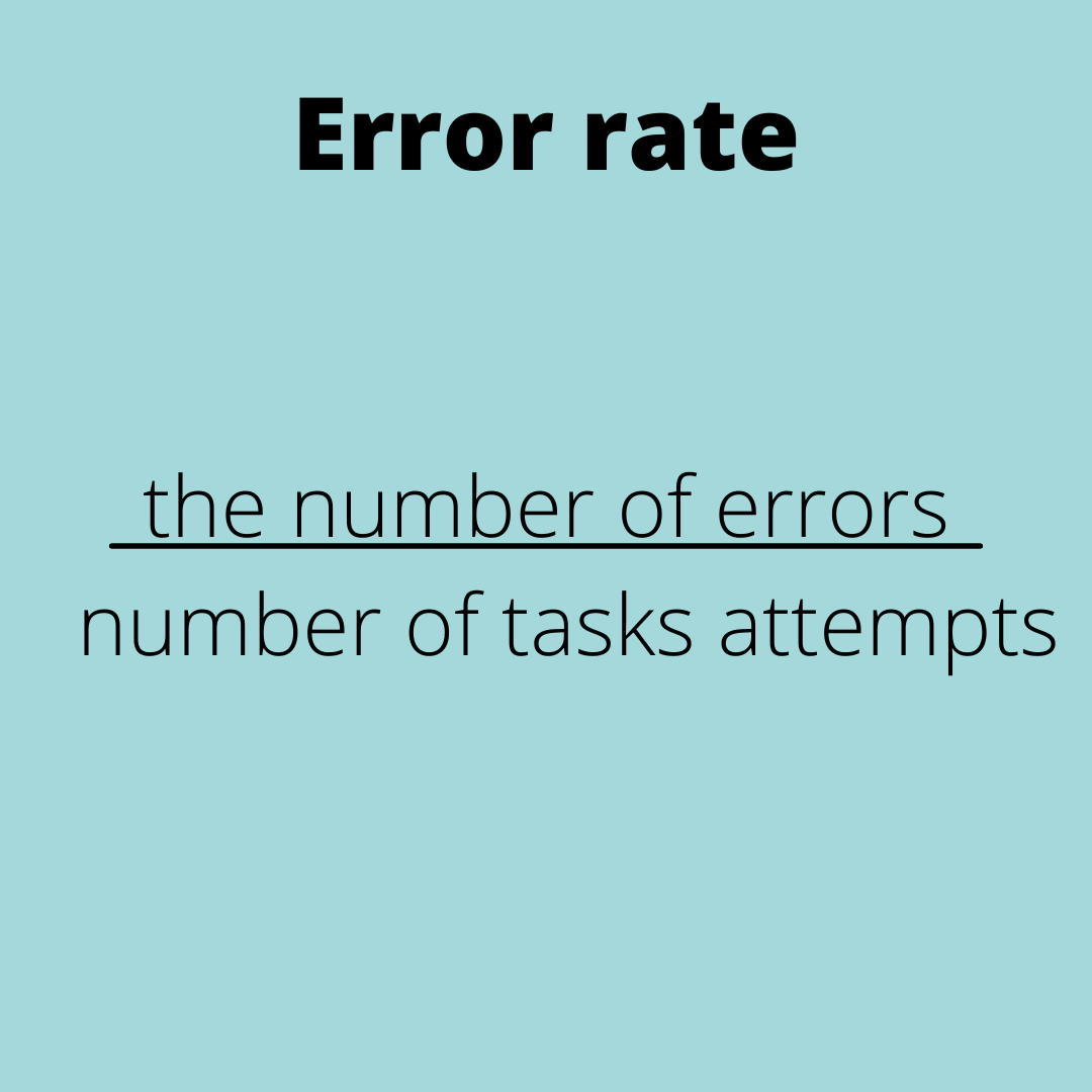 Error rate=the number of errors/number of task attempts