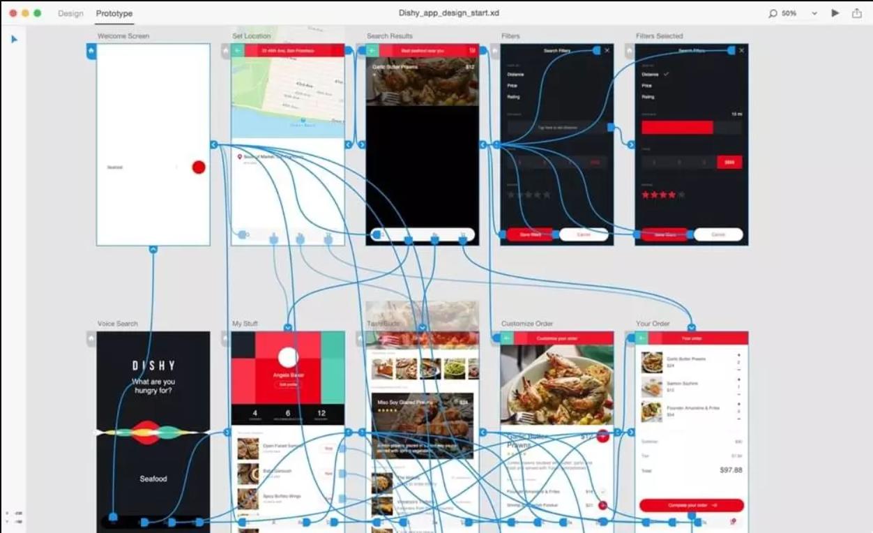 Adobe XD prototype example