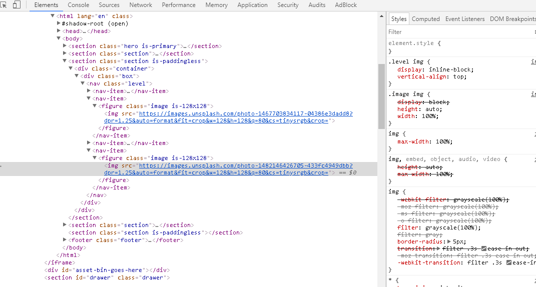 HTML prototype example