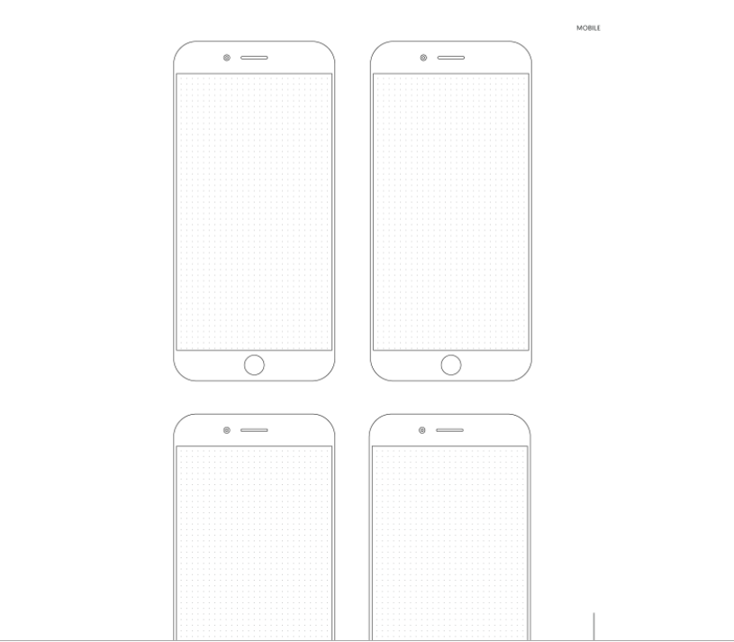 prototype templates with sketches of smartphone