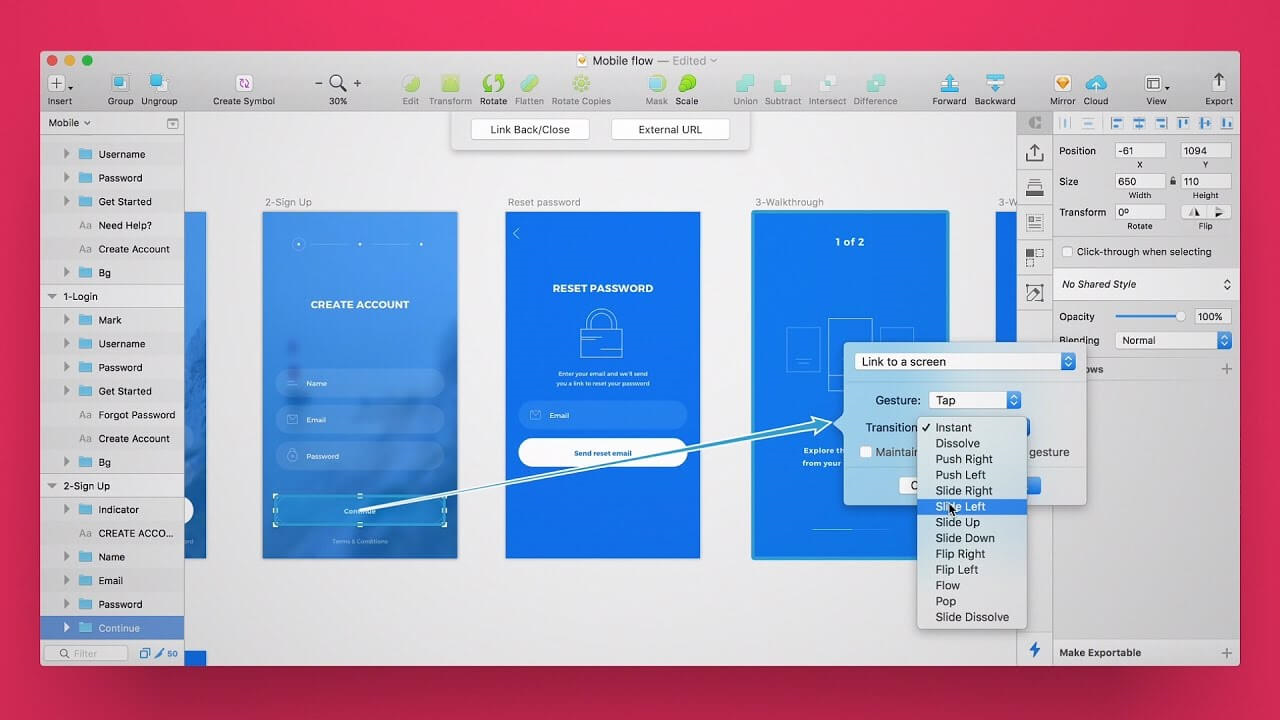 prototype example made in Sketch