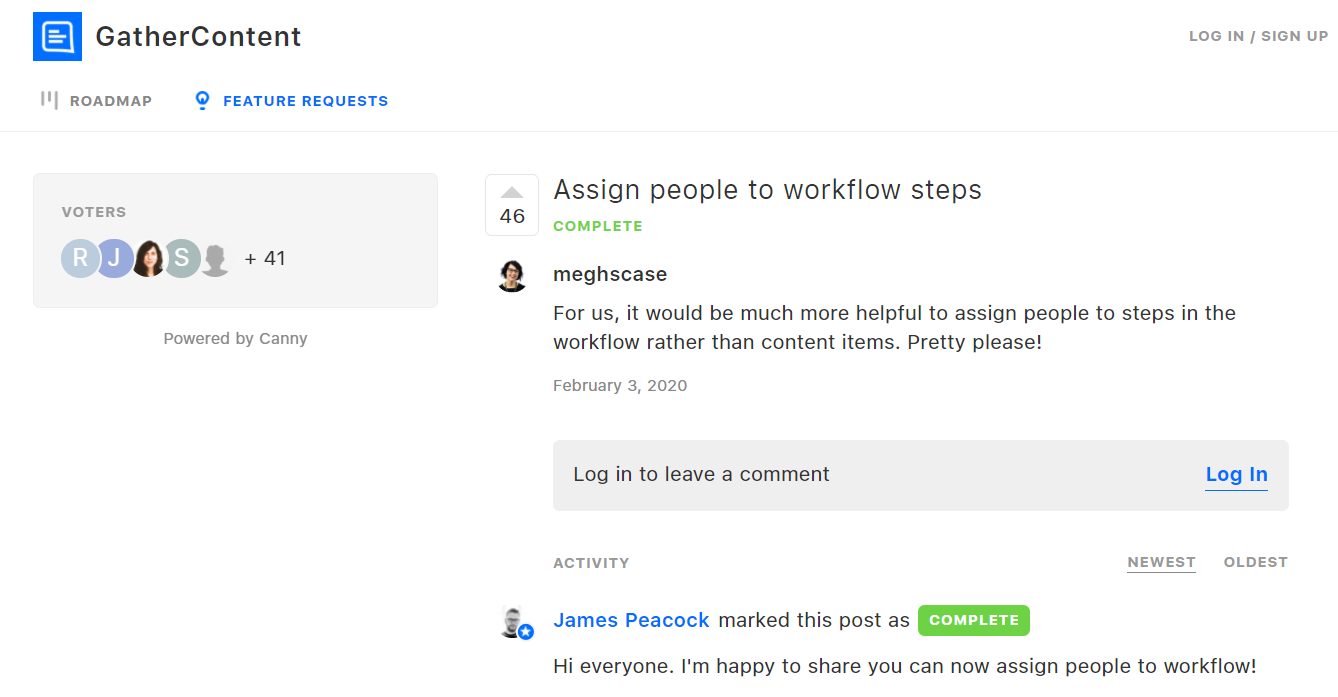 That's how GatherContent's feature request platform lools like