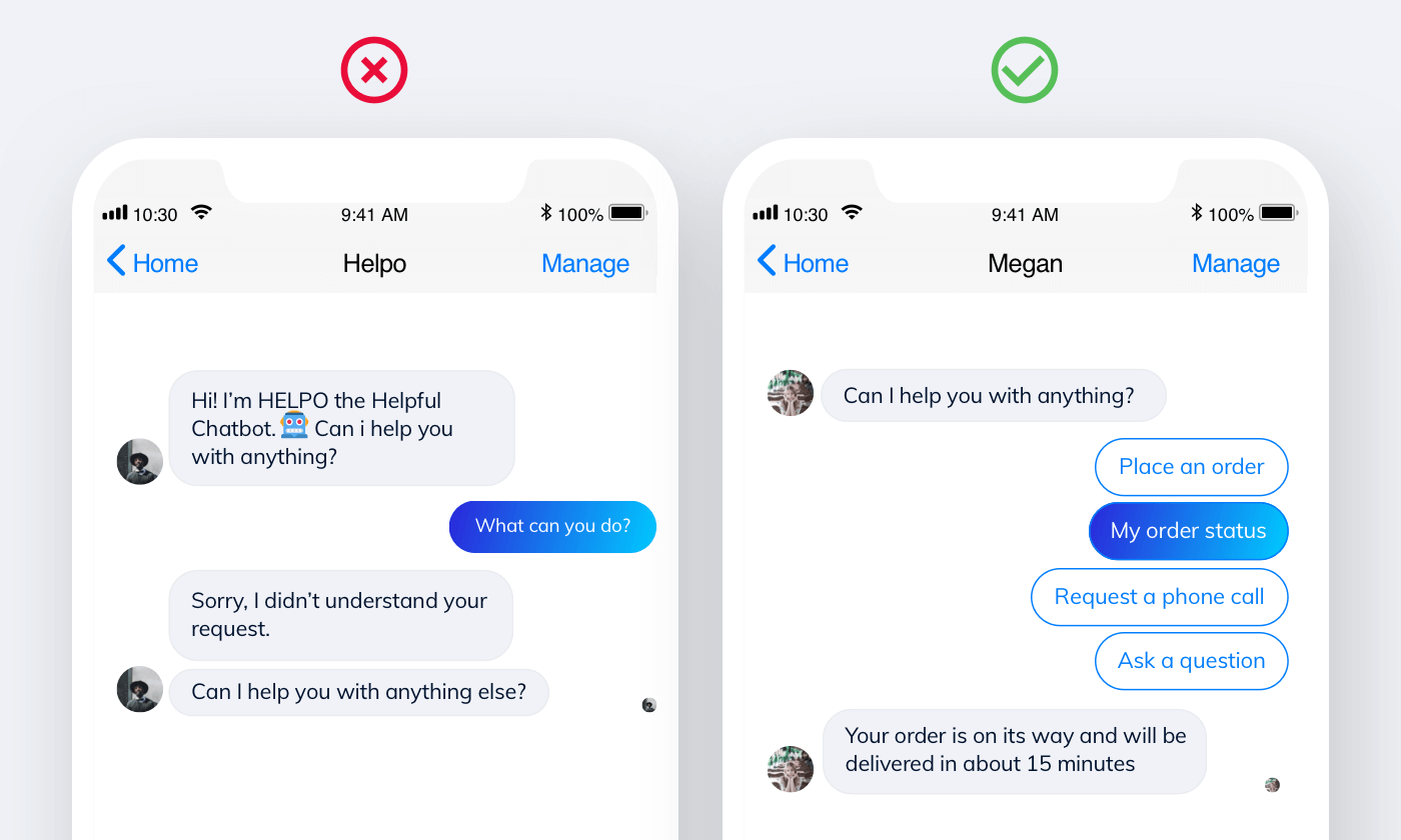 multiple-choice buttons for a chatbot