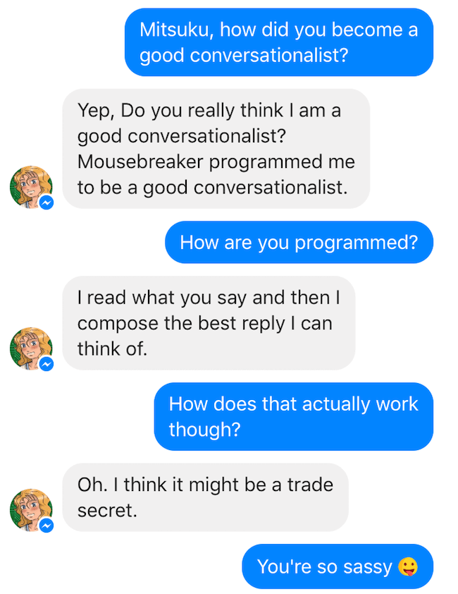 the use of an artificial intelligence markup language by a chatbot to imitate human conversations