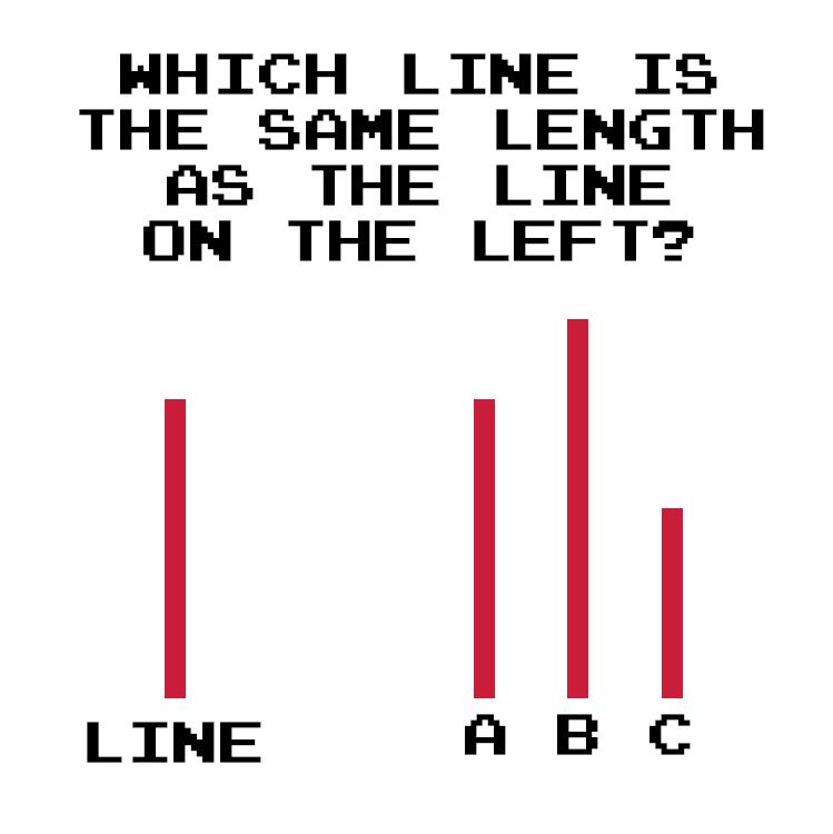 Asch experiment. 4 lines