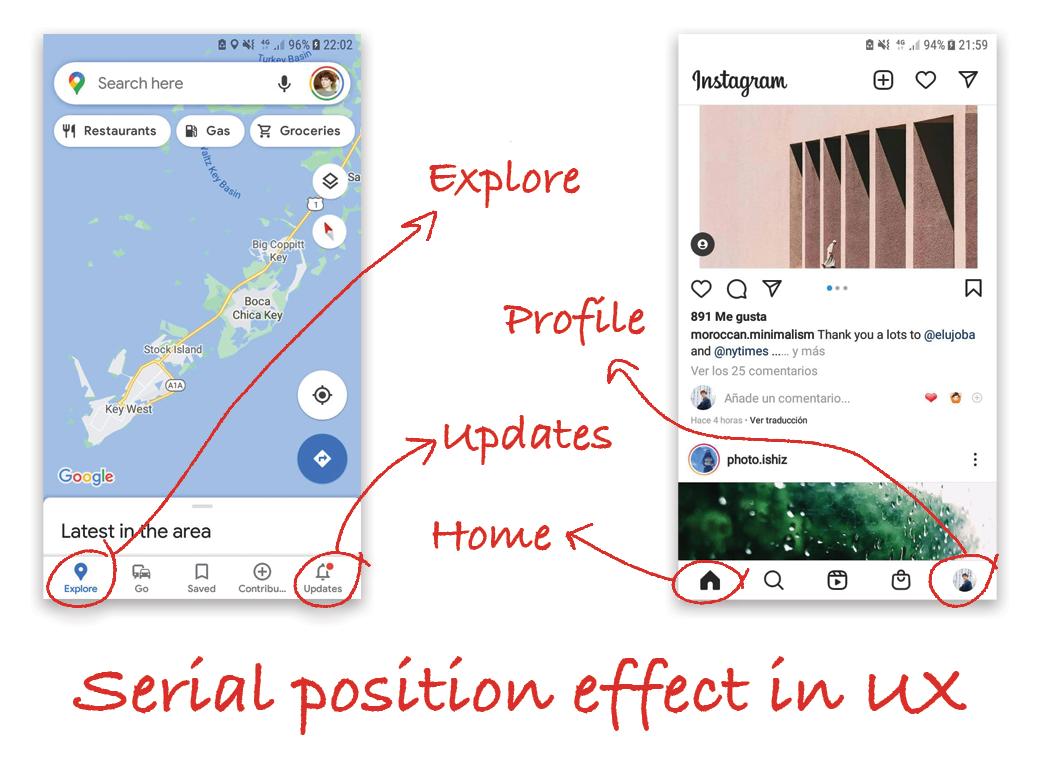 Instagram and google maps screenshots