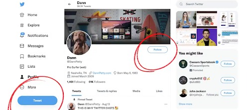 The old following button