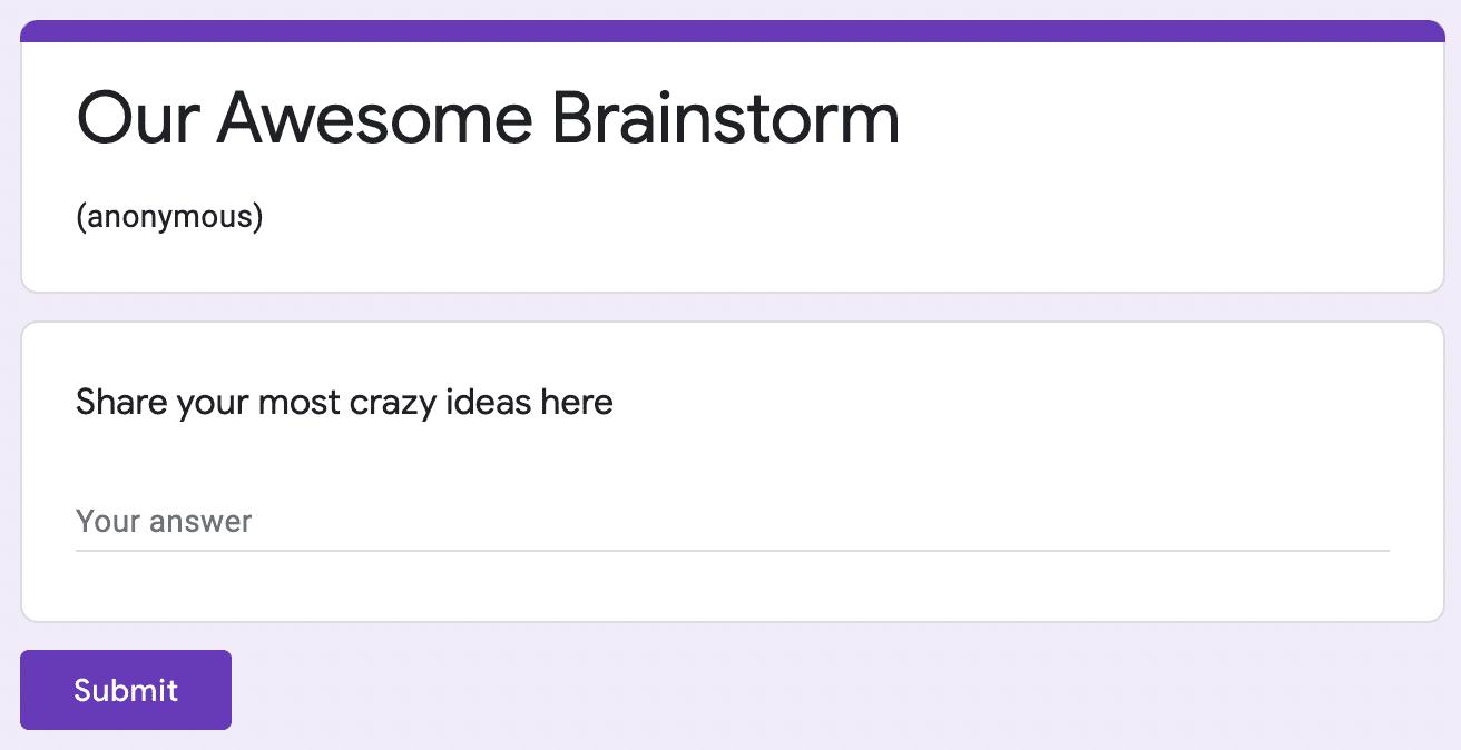 Brainstorming Google form