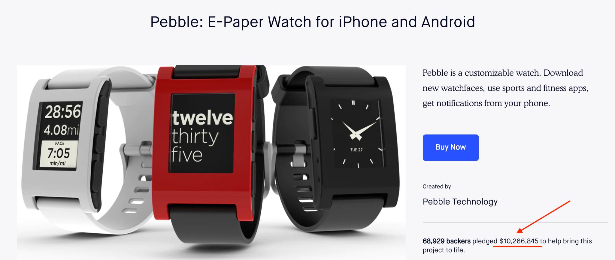 An MVP example of Pebble's smartwatch