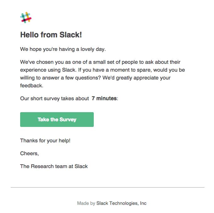 survey example by Slack