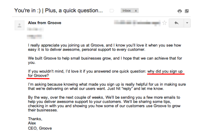 welcome email Groove example
