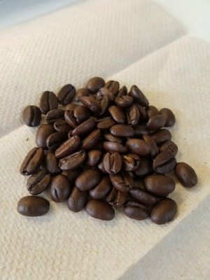 eating coffee beans from kona