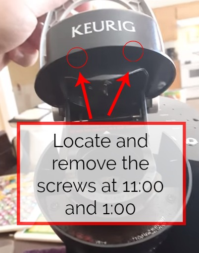 step 1 for how to drain a keurig is remove screws