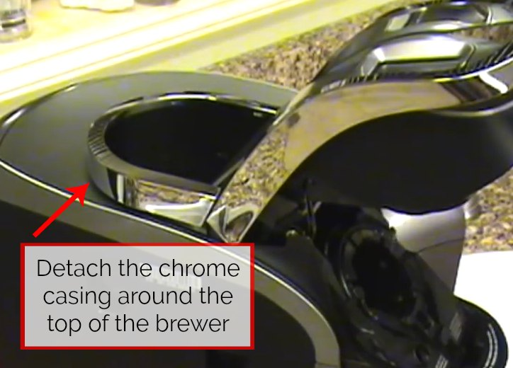 step 1 for how to drain a keurig 2.0 is detach chrome ring on top