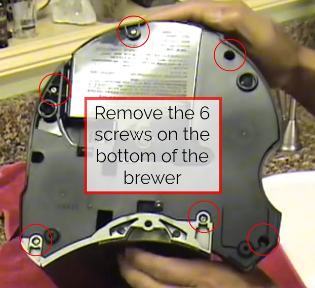 step 2 for how to drain a keurig 2.0 is to remove the bottom screws