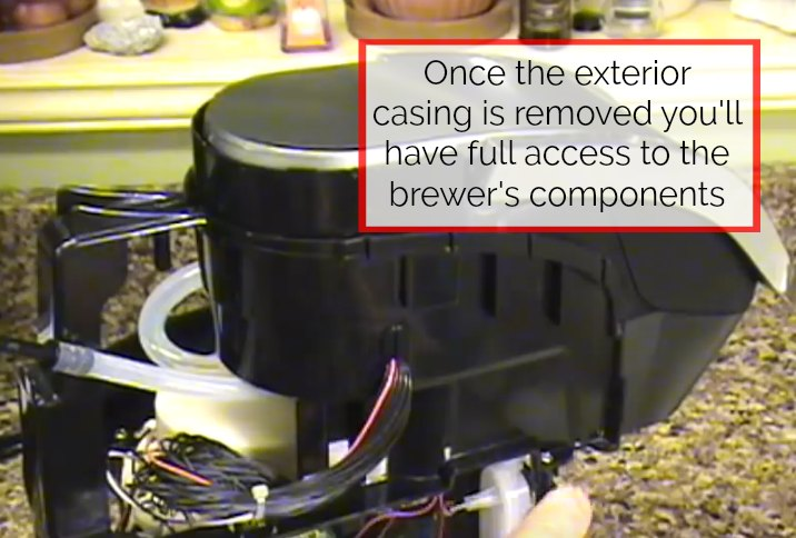 step 5 for how to drain a keurig 2.0 is to remove the exterior case