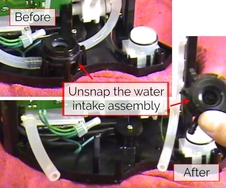 step 6 for how to drain a keurig 2.0 is to unclip the water intake assembly