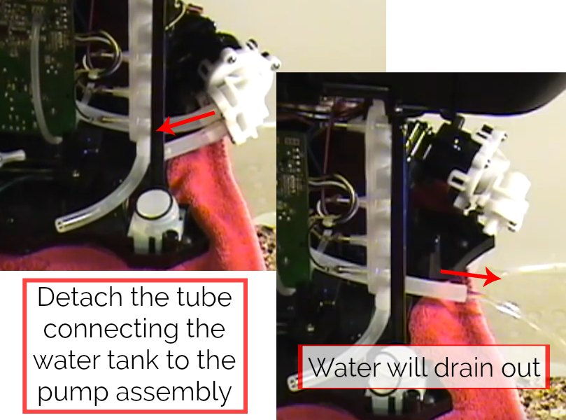 step 11 for how to drain a keurig 2.0 is to detach the water tank tube