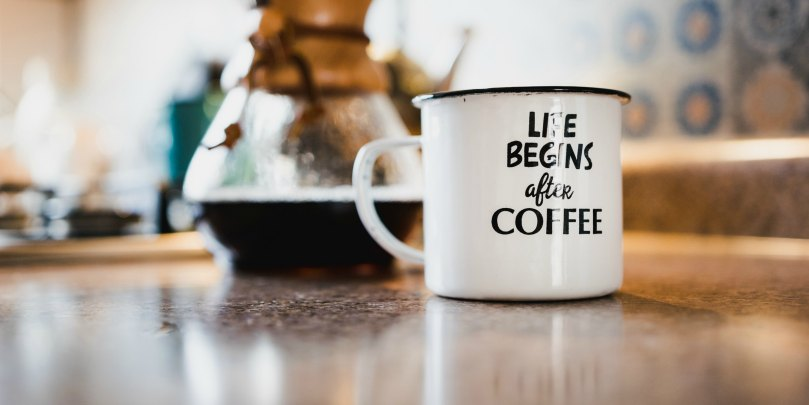 life begins after coffee mug sloga